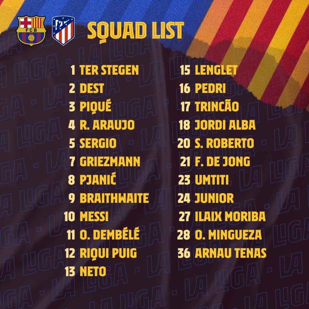 Le groupe du Barça pour l'Atletico