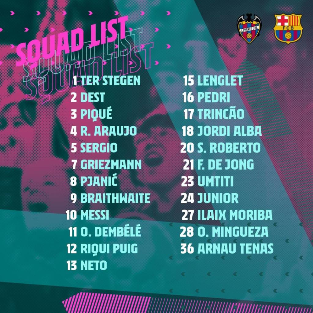 Le groupe du Barça pour Levante