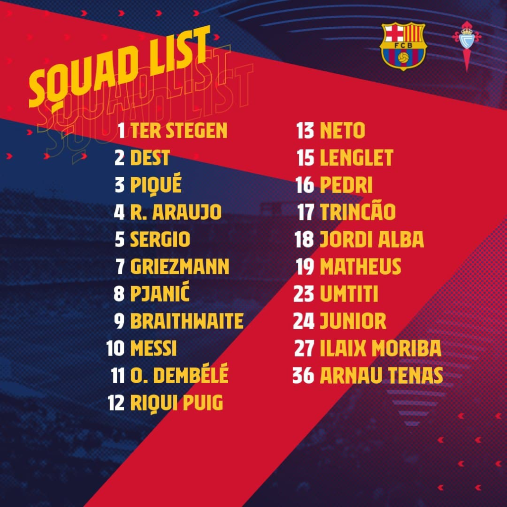 Le groupe du Barça pour Vigo
