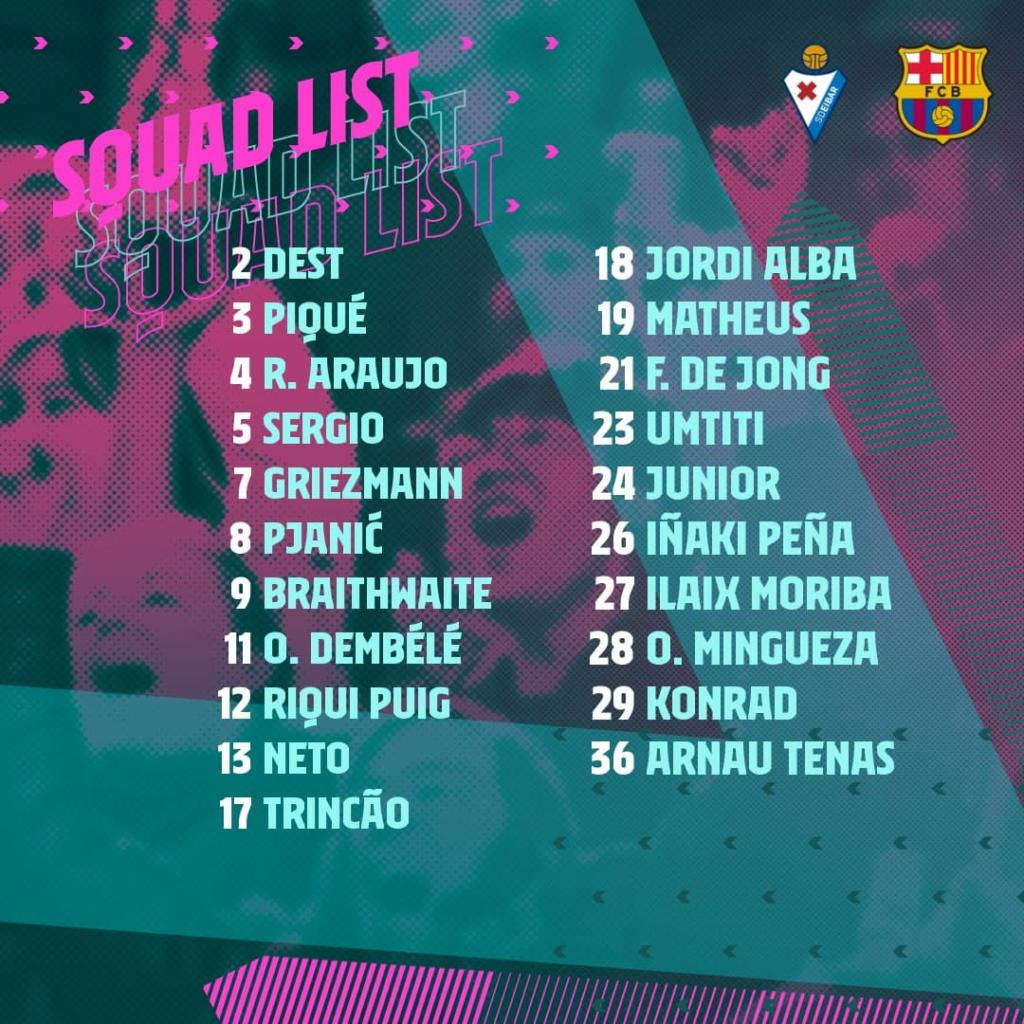 Le groupe du Barça pour Eibar